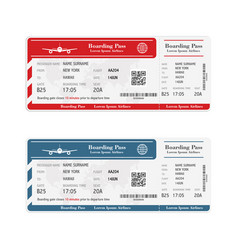 set airline boarding pass tickets isolated vector image