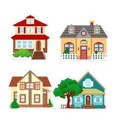 set cute colorful houses vector image