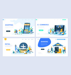 set landing page template flat concept vector image