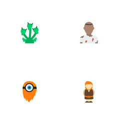 Set of fantasy icons flat style symbols with hydra vector