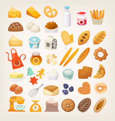 Set of ingredients for cooking bread bakery icons vector