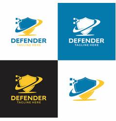 shield pixelated logo graphic data defender vector image