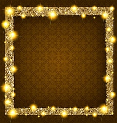 Square gold frame with lights on a dark background vector