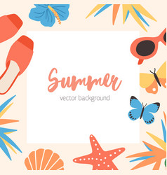 square summer background template with border or vector image