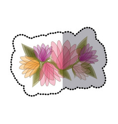 Sticker blurred bouquet of bud flowers with leaves vector