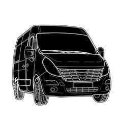 Tech draw of modern minibus vector