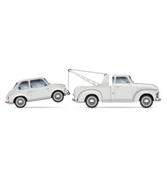 Tow truck with retro small car vector