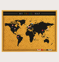Travel map with flags map pointers vector