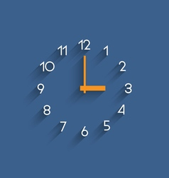 Trendy minimalistic clock with shadow on blue vector