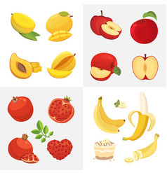Vegetarian food icons in cartoon style fresh vector