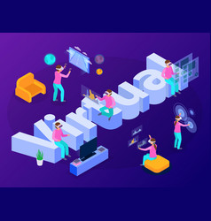 virtual reality isometric composition vector image