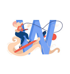 Wakeboarding woman with large letter w water vector