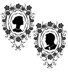 wedding silhouette flourishes 9 vector image