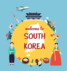 welcome to south korea with landmarks and vector image