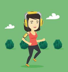 Woman running with earphones and smartphone vector