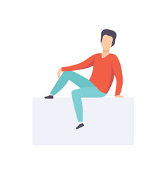 Young brunette man sitting in casual clothes side vector