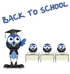BIRD BACK TO SCHOOL vector image vector image