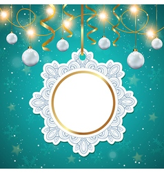 Christmas banner with white decorations vector image vector image