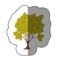 lime green sticker tree art icon vector image