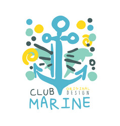 marine club original logo design summer travel vector image