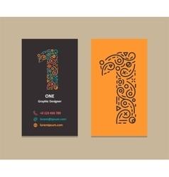 Number 1 Logo Business card vector image