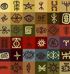 Tribal ethnic symbols background vector image