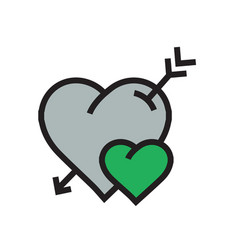cartoon heart arrow icon green color vector image