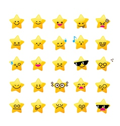 Collection of difference emoticon icon of star vector image
