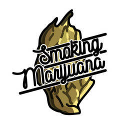 color vintage marijuana emblem vector image