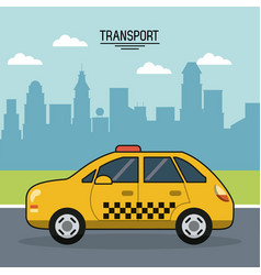 colorful poster of transport with cab on the vector image