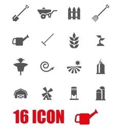 grey farming icon set vector image vector image