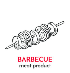 hand drawn barbecue icon vector image