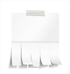 Blank white paper with tear off tabs vector image vector image