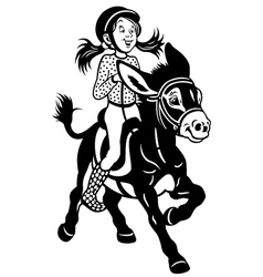 cartoon girl with donkey black white vector image vector image