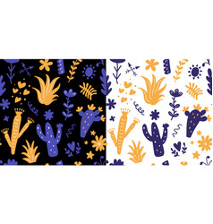 floral seamless patterns set with colorful cactus vector image vector image