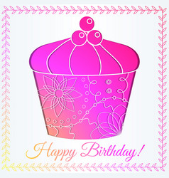 Happy birthday card with cupcake gradient vector
