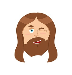 Jesus winks Good Christ Mimicry smile on face of vector image