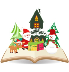 merry christmas santa claus and snowman on book vector image vector image