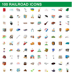 100 railroad icons set cartoon style vector image