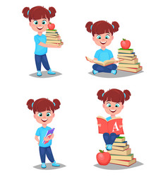 back to school cute girl is ready for studying vector image