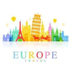 Europe travel landmarks vector