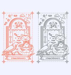 happy halloween trick or treat tombstonepumpkin vector image