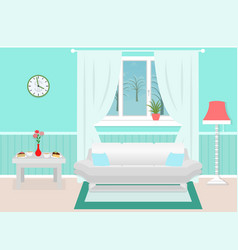 Living room interior with furniture winter vector