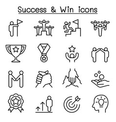 success icon set in thin line style vector image vector image