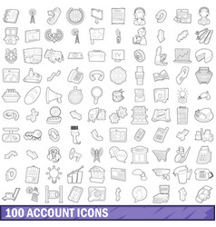 100 account icons set outline style vector image