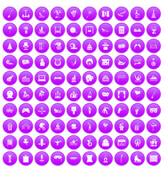 100 amusement icons set purple vector