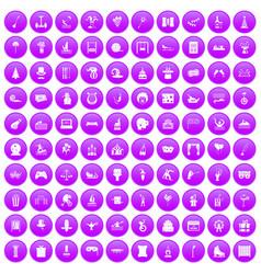 100 amusement icons set purple vector