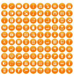 100 hardware icons set orange vector