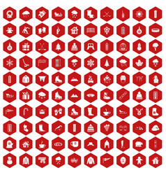 100 winter icons hexagon red vector