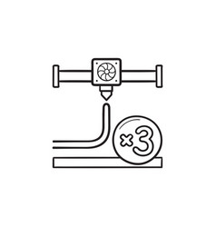 3d printing nozzle hand drawn outline doodle icon vector image